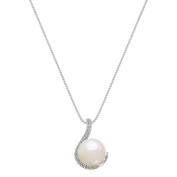 "11mm Cultured South Sea Pearl and Round Diamond Swirl Pendant (18"")"