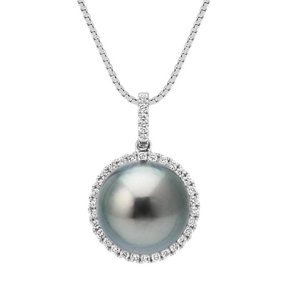 11mm Cultured Tahitian Pearl and Diamond Halo Pendant (18 in.)
