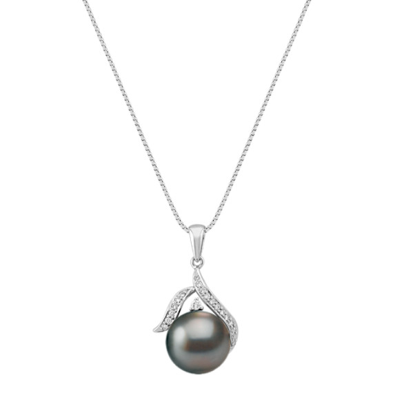 "11mm Cultured Tahitian Pearl and Diamond Pendant (18"")"