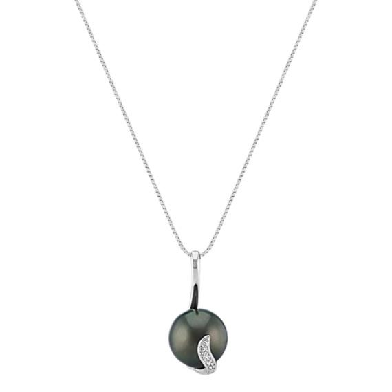 "11mm Cultured Tahitian Pearl and Diamond Swirl Pendant (18"")"