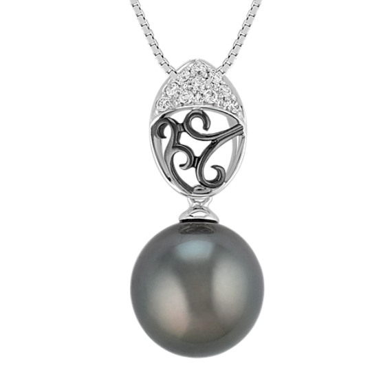 "11mm Cultured Tahitian Pearl and Round Diamond Pendant (18"")"
