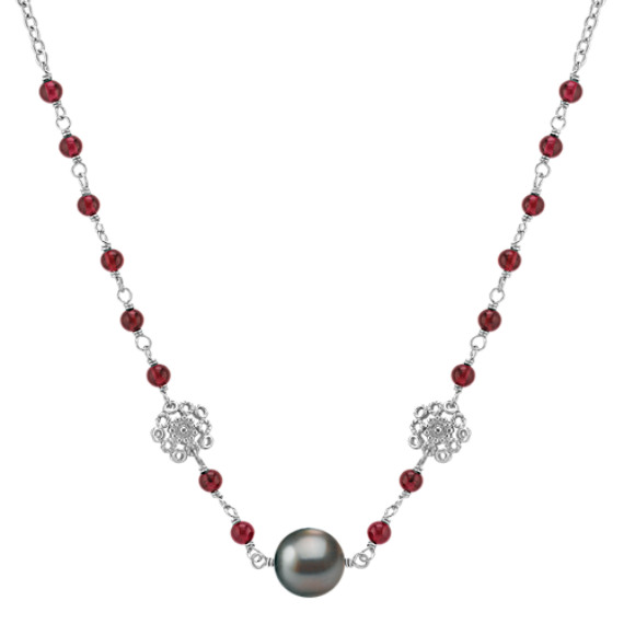 "11mm Cultured Tahitian Pearl, Garnet, and Sterling Silver Necklace (18"")"