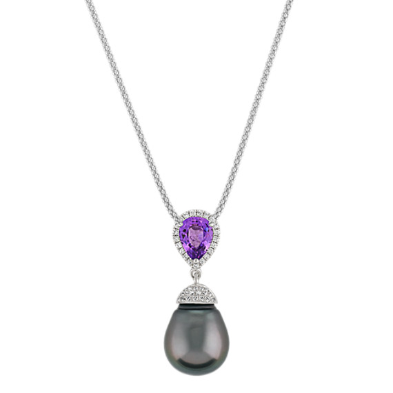 "11mm Cultured Tahitian Pearl, Lavender Sapphire, and Diamond Pendant (22"")"