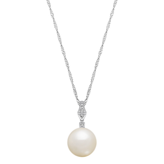 "12mm Cultured Freshwater Pearl and Diamond Pendant in Sterling Silver (20"")"