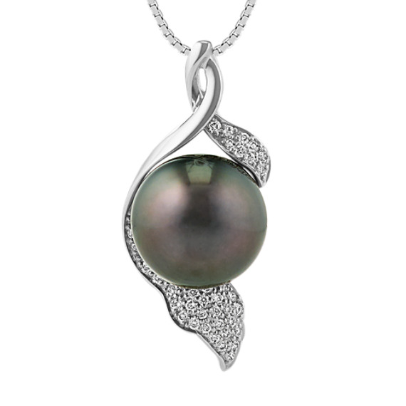 12mm Cultured Tahitian Pearl and Round Diamond Pendant (18 in.)