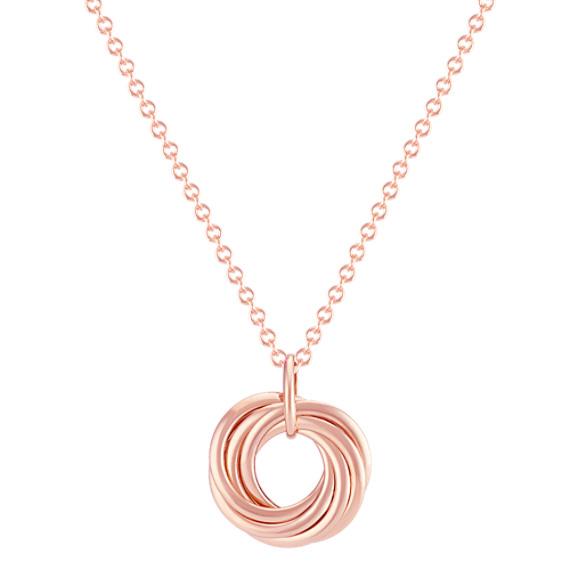 "14k Rose Gold Circles Pendant (18"")"