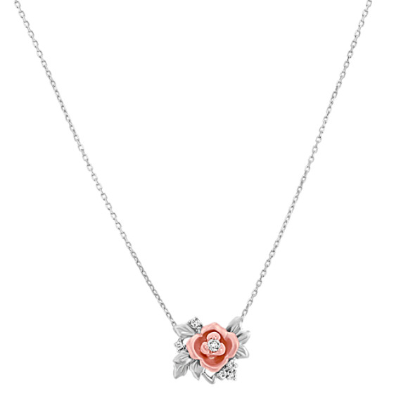 14k White and Rose Gold Diamond Pendant (18)