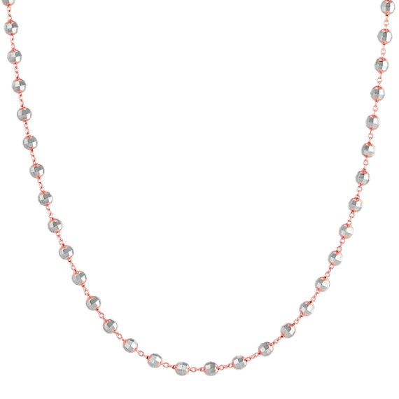 """14k White and Rose Gold Disco Bead Necklace (25"""")"""