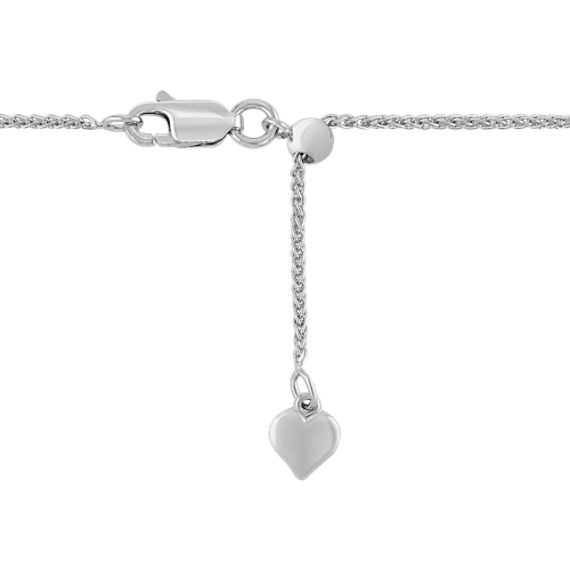 "14k White Gold Adjustable Diamond Cut Wheat Chain (22"")"