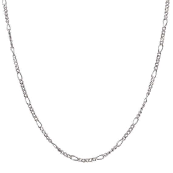 14k White Gold Figaro  Chain (18)