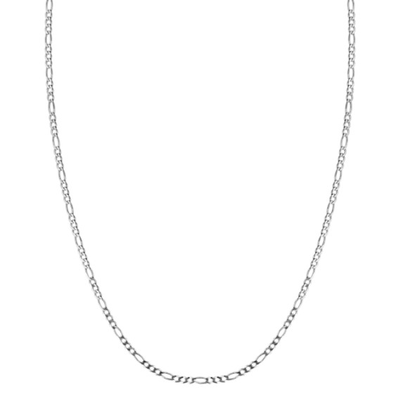 "14k White Gold Figaro Link Necklace (24"")"