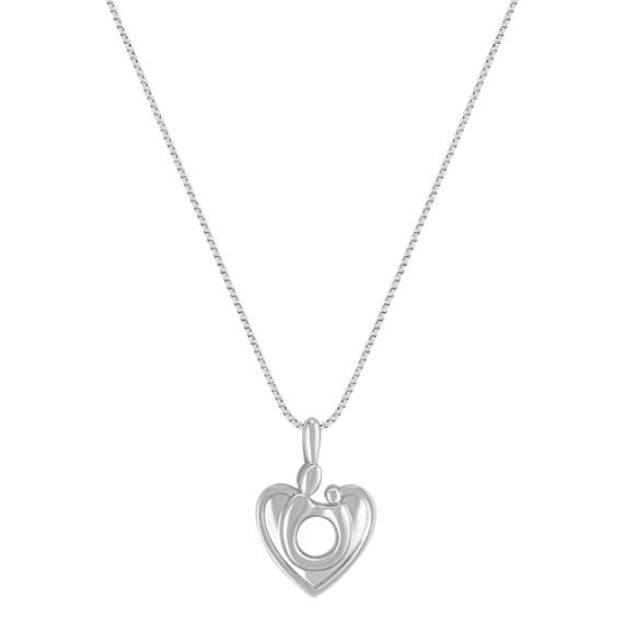 """14k White Gold Mother & Child Heart Pendant (18"""")"""