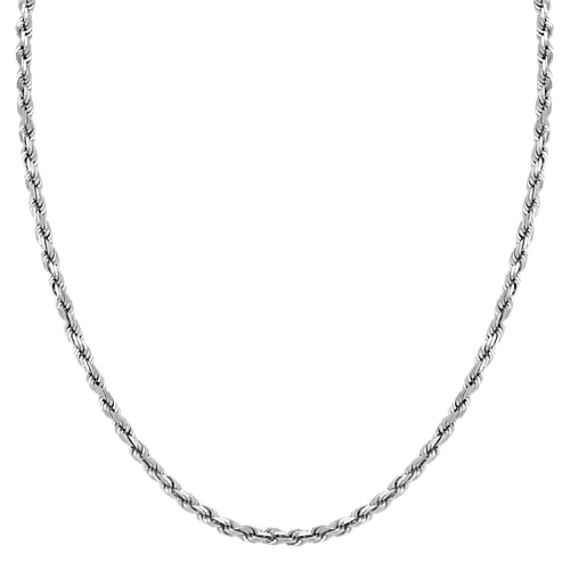 "14k White Gold Rope Necklace (24"")"