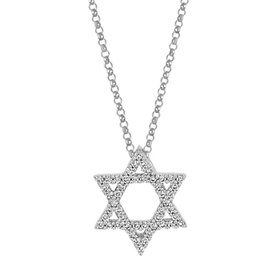 14k White Gold Star of David Diamond Pendant (18)