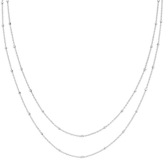 14k White Gold Wheat Chain with Stations (36)