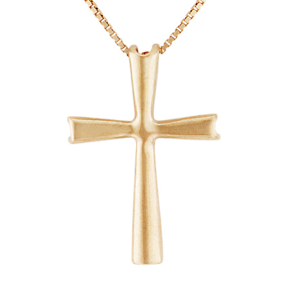 "14k Yellow Gold Cross Pendant (18"")"