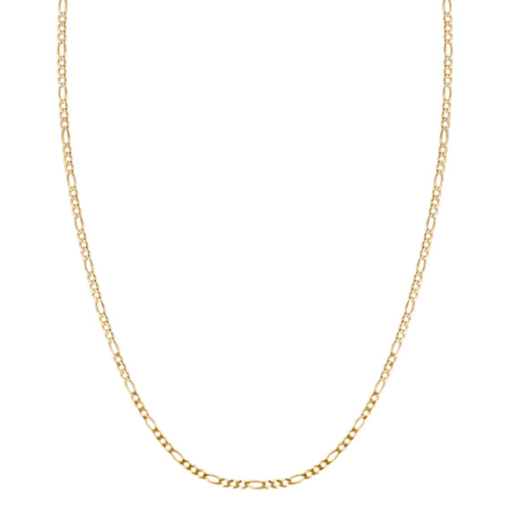 """14k Yellow Gold Figaro Link Necklace (24"""")"""