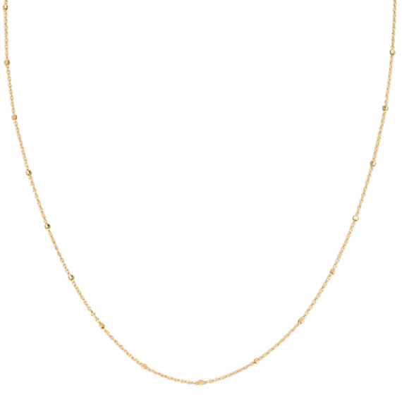 14k Yellow Gold Wheat Chain with Stations (18)