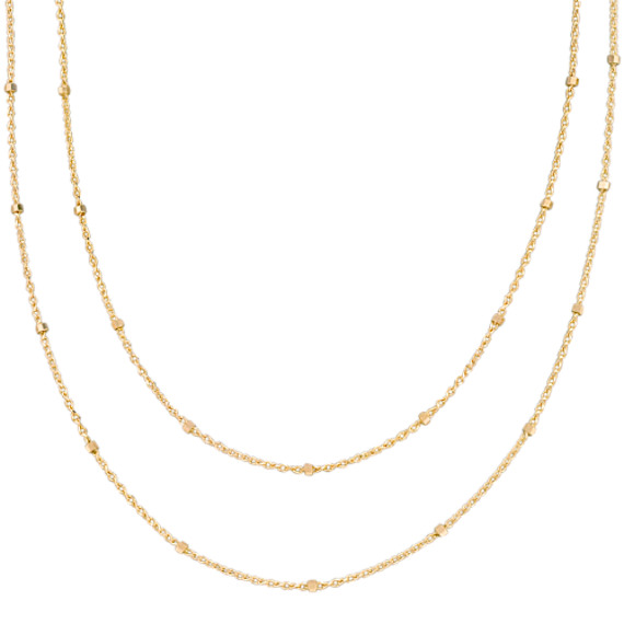 14k Yellow Gold Wheat Chain with Stations (36)