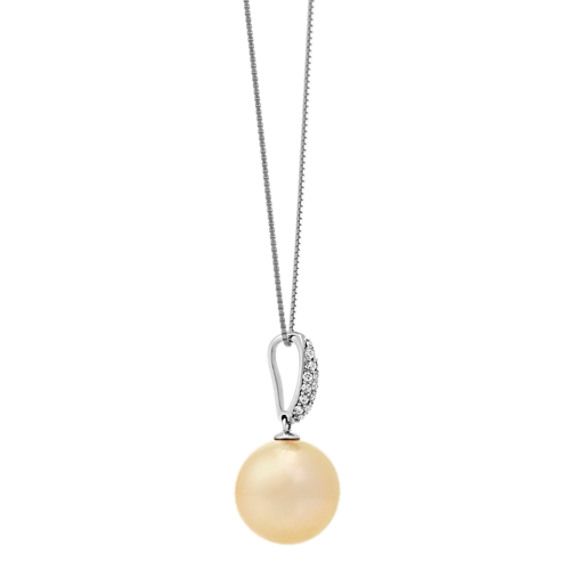 "14mm Cultured Golden South Sea Pearl and Round Diamond Pendant (18"")"