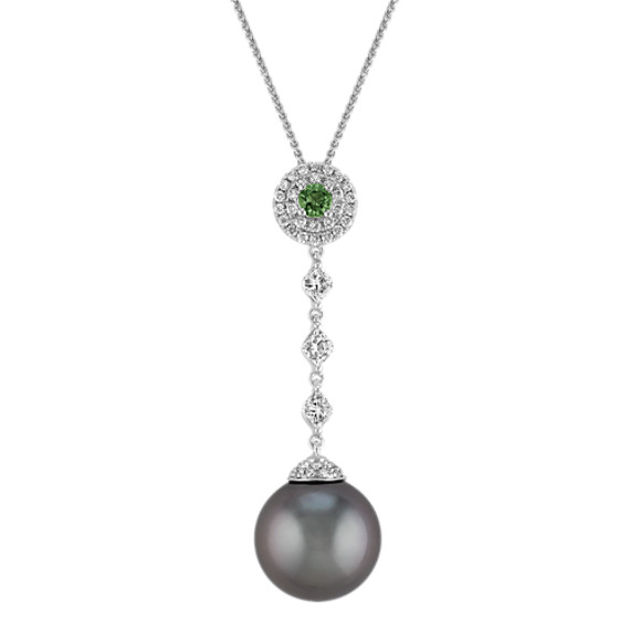 "14mm Cultured Tahitian Pearl, Round Green Sapphire, and Diamond Pendant (22"")"