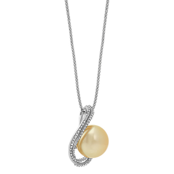 "15mm Cultured Golden South Sea Pearl and Round Diamond Pendant (22"")"