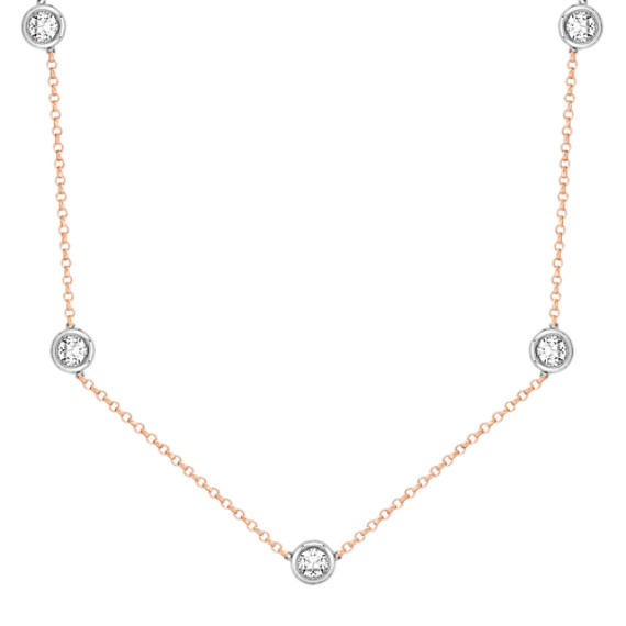 2 1/2 ct. t.w Round White Sapphire Necklace in 14k White and Rose Gold (16)