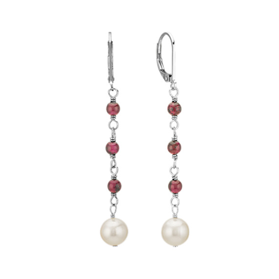 """4-7.5mm Cultured Freshwater Pearl and Garnet Necklace and Earring Set (18"""")"""