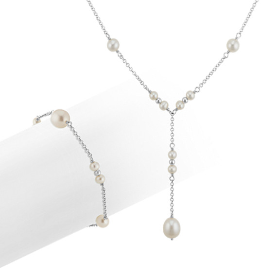 """4-9mm Cultured Freshwater Pearl Necklace and Bracelet Matching Set (18"""")"""