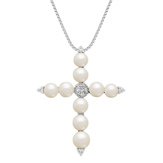 4.5mm Cultured Freshwater Pearl and Diamond Cross Pendant (18)