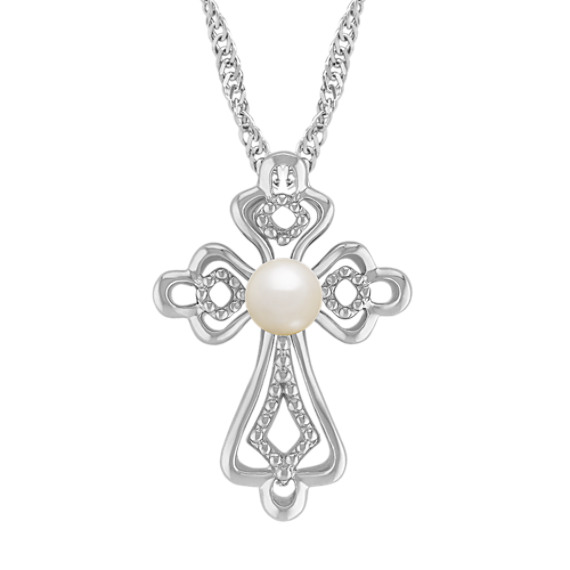 "4.5mm Cultured Freshwater Pearl and Sterling Silver Cross Pendant (20"")"