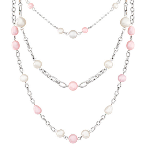 "5-10mm Multi-Colored Cultured Freshwater Pearl and Sterling Silver Necklace (18"")"