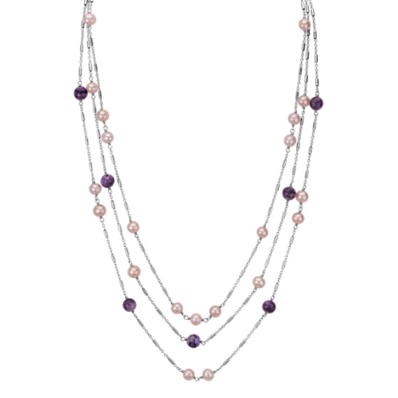 "5-7.5mm Cultured Freshwater Pink Pearl and Charoite Necklace (24"")"