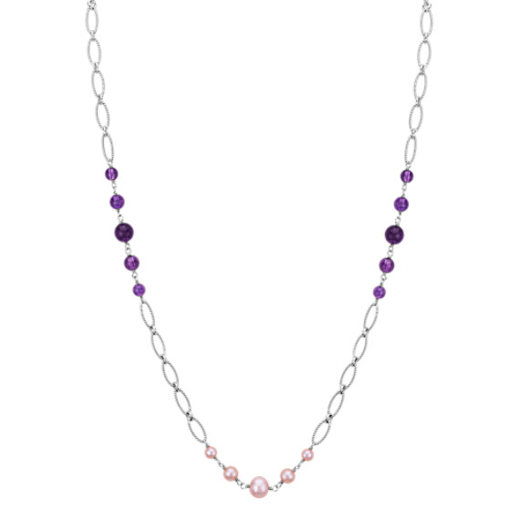 """5-8.5mm Cultured Freshwater Lavender Pearl and Amethyst Necklace (18"""")"""
