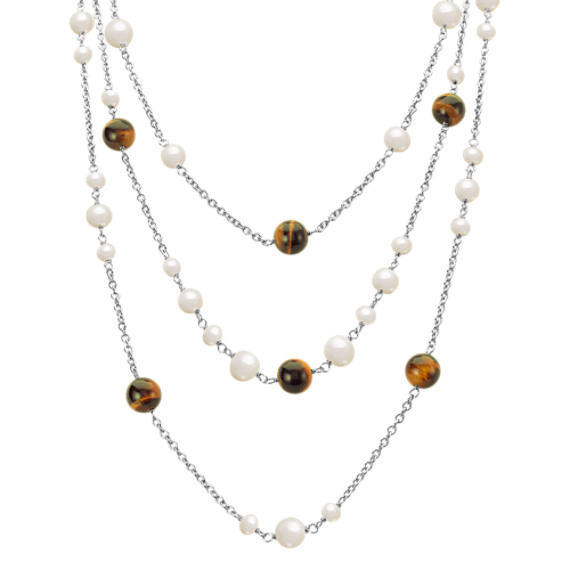 "5-9mm Cultured Freshwater Pearl, Tiger's Eye, and Sterling Silver Necklace (20"")"