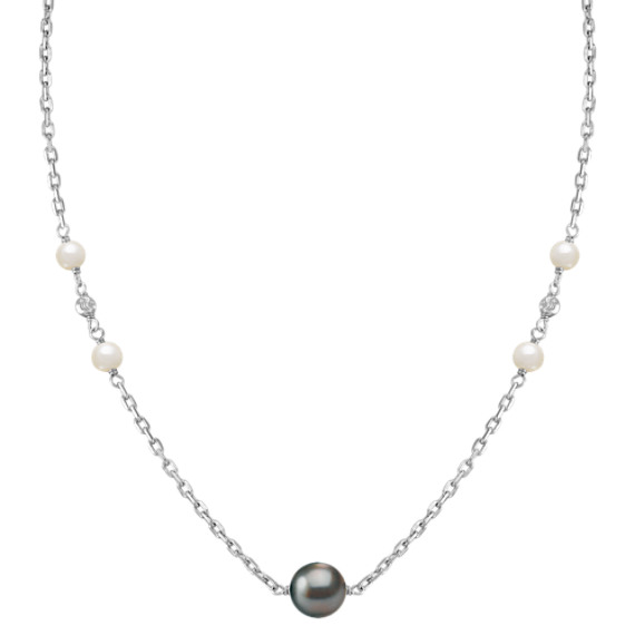 5.5-10mm Cultured Tahitian and Freshwater Pearl Necklace in Sterling Silver (36)