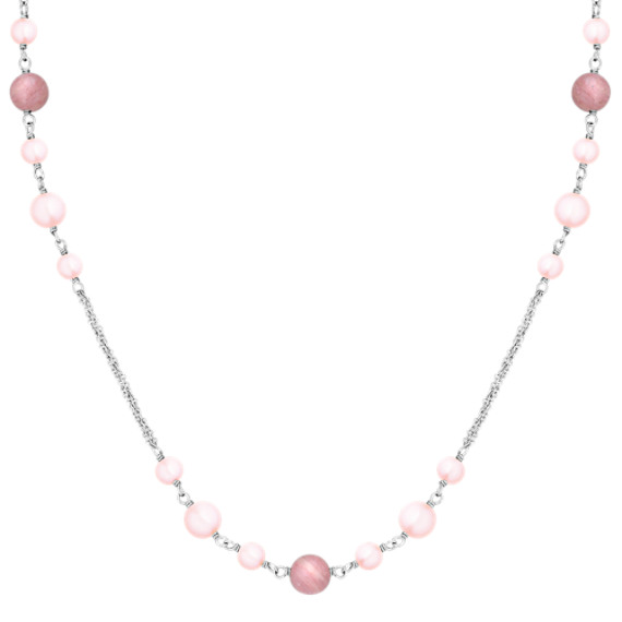"5.5-8mm Pink Cultured Freshwater Pearl, Rhodonite, and Sterling Silver Necklace (24"")"