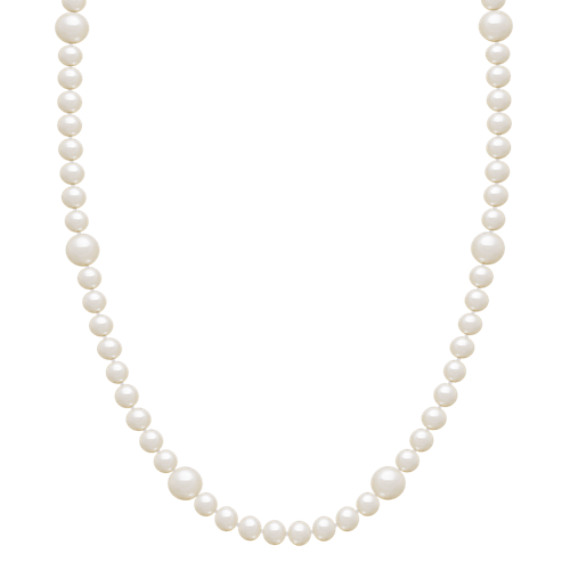 "5.5-9mm Cultured Freshwater Pearl Strand in Sterling Silver (36"")"