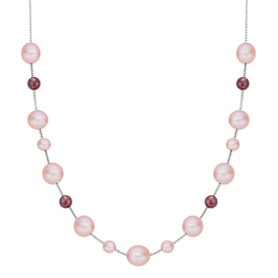 "5.5-9mm Pink Cultured Freshwater Pearl and Garnet Red Velvet Necklace (18"")"