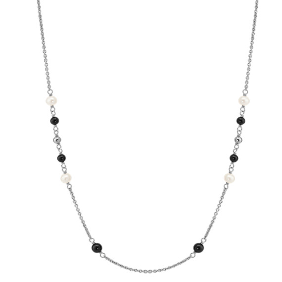 "5mm Cultured Freshwater Pearl, Black Agate and Sterling Silver Necklace (47"")"