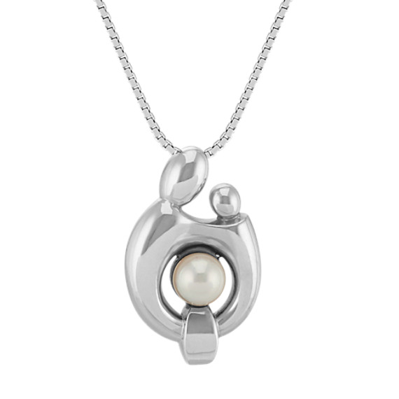 5mm Cultured Freshwater Pearl Mother & Child Pendant (20 in)