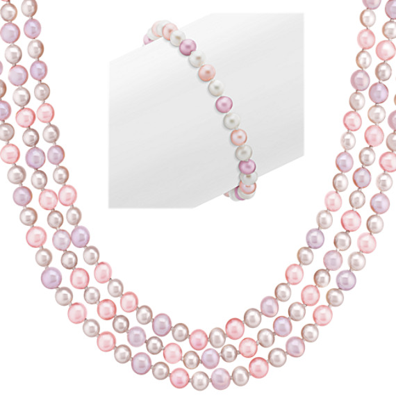 5mm Multi-Colored Cultured Freshwater Pearl Strand and Bracelet Two Piece Set (65)