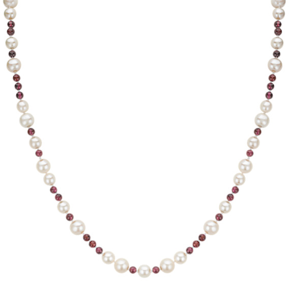 """6-7.5mm Cultured Freshwater Pearl and 4mm Garnet Bead Necklace (24"""")"""