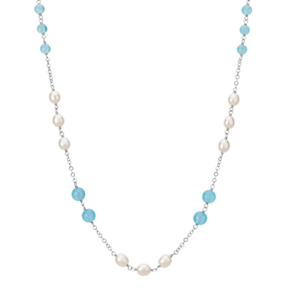 6-8mm Sea Blue Agate and Cultured Freshwater Pearl Necklace in Sterling Silver (18)