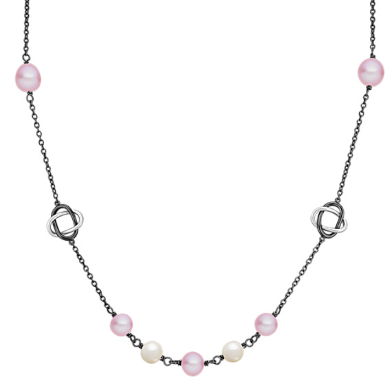 "6.5-7.5mm Multi-Colored Freshwater Pearl and Sterling Silver Necklace (30"")"