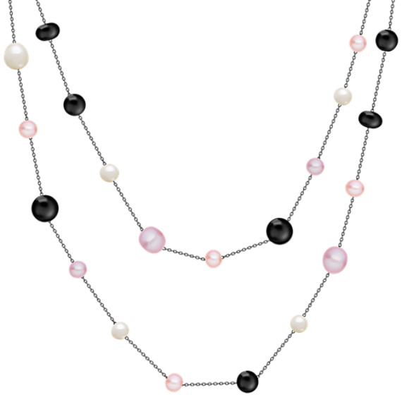 "6.5-9.5mm Multi-Colored Cultured Freshwater Pearl, Black Agate and Sterling Silver Necklace (47"")"