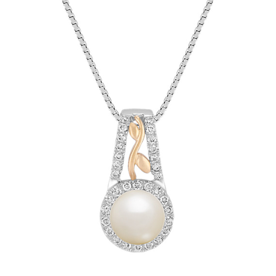 6.5mm Cultured Akoya Pearl and Round Diamond Pendant in Two-Tone Gold (18)