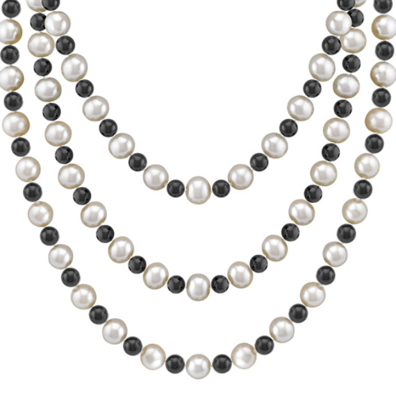 "6.5mm Cultured Freshwater Pearl and Black Agate Strand (65"")"
