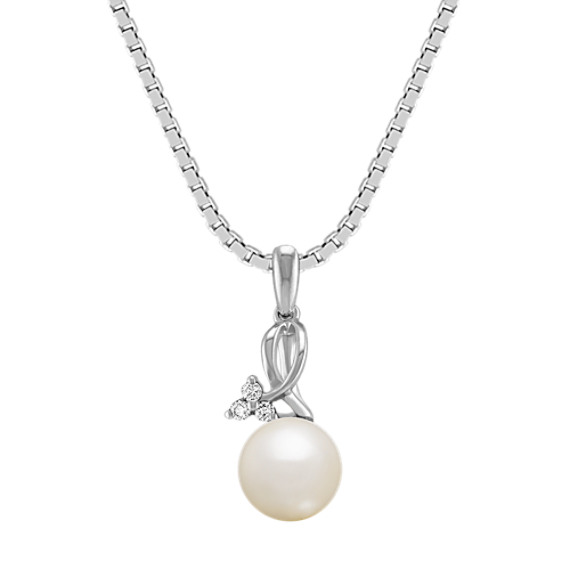 "6.5mm Cultured Freshwater Pearl and Diamond Sterling Silver Pendant (18"")"