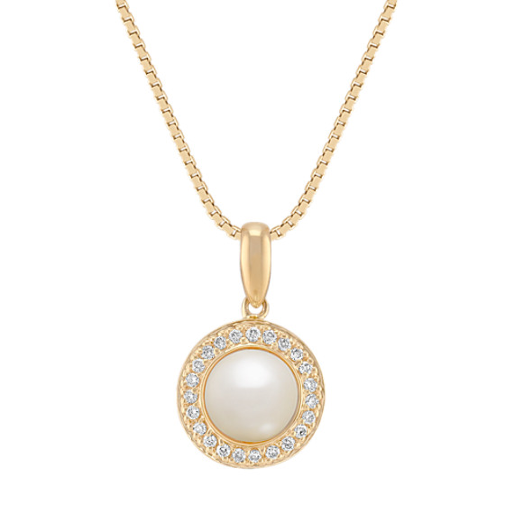 "6.5mm Cultured Freshwater Pearl and Round Diamond Pendant (18"")"